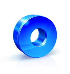 Glossy blue zero 0 number 3d on vector