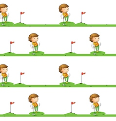 Golf playing boy vector image vector image