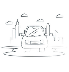 Hand-drawn car icon vector