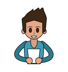 Happy man using tablet icon image vector