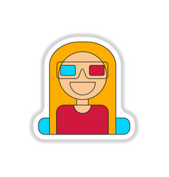 In paper sticker style girl at vector