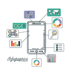 infographics and statistics with smartphone vector image