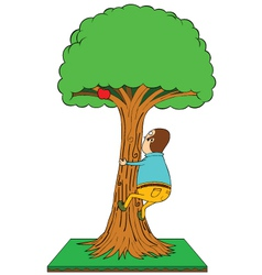 Man climbing apple tree vector image