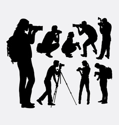 Photographer5 male and female silhouette vector