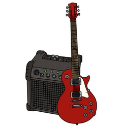 Red electric guitar and the combo vector image vector image