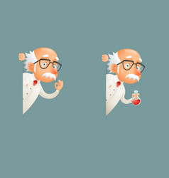 scientist old wise character look out corner icons vector image vector image