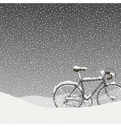 Snow covered bicycle calm winter scene vector