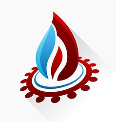 symbol fire with gear Red and blue flame glass vector image vector image