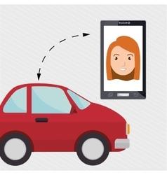 Woman smartphone car web vector