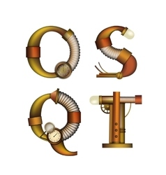 Set of Steampunk letters isolated on white vector image