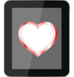 tablet pc on white background love valentine heart vector image