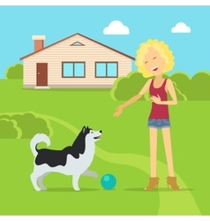 Sanguine temperament type girl with dog vector