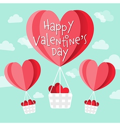Happy valentines day heart shaped hot air balloons vector