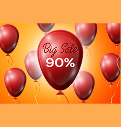 red balloons with an inscription big sale ninety vector image