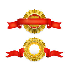 blank golden award medal with ribbon vector image