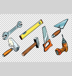 Set repair tools isolated background vector
