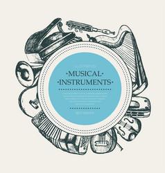 Musical instruments - hand drawn round banner vector