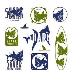 Shark dangerous emblems vector
