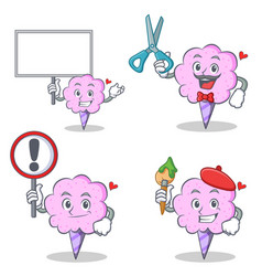Cotton candy character set with board sign barber vector