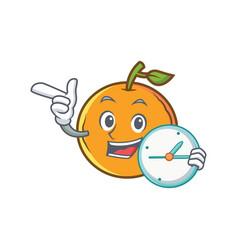 Orange fruit cartoon character with clock vector
