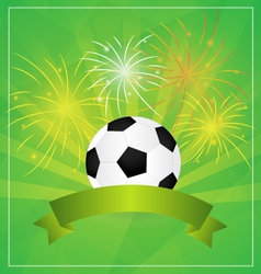 Soccer with banner and fireworks background vector