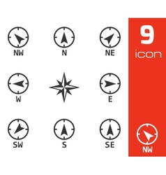 Black wind rose icons set vector