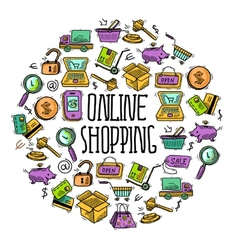 Online shopping circle vector image