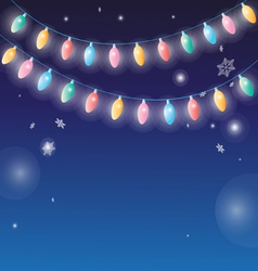 Winter background with garlands lamps vector