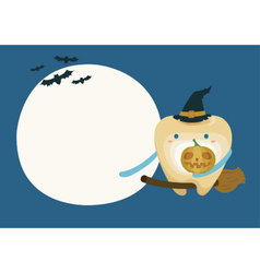 Tooth with pumpkin in moon night on halloween vector