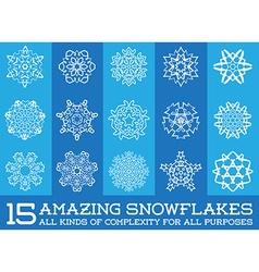 Set of snowflakes fractals or mandala icons great vector