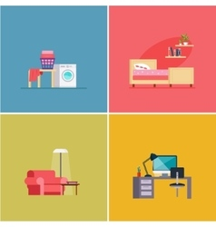 Interior design rooms set vector