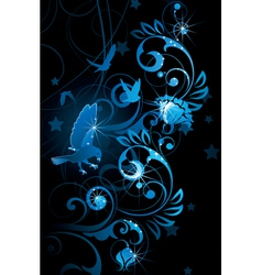 Blue birds and vines vector