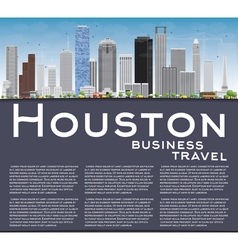 Houston skyline with gray buildings vector