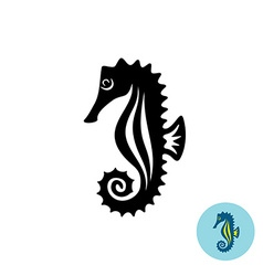 Sea horse elegance black silhouette logo with vector