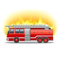 Firetruck in fire vector