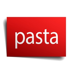 Pasta red square isolated paper sign on white vector