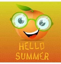 Funny cartoon orange in the eyeglasses vector