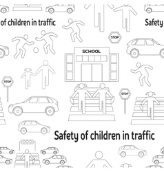 Safety of children in traffic pattern vector