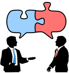 Business people connect collaborate puzzle talk vector