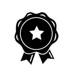 Award ribbon with star icon simple style vector