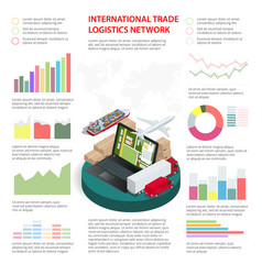 business infographics global logistics network vector image vector image