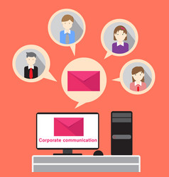 Business people corporate communication email vector
