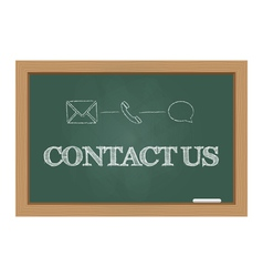 Contact us message on chalkboard vector image vector image