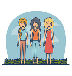 couple teacher profession women with clothes and vector image