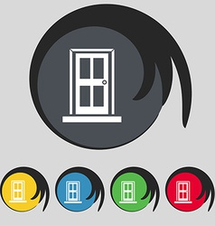 Door icon sign Symbol on five colored buttons vector image vector image