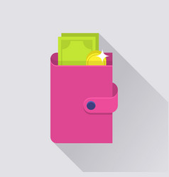 flat wallet icon vector image vector image
