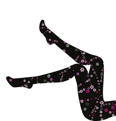 Floral stockings on long legs isolated on white vector
