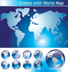Globes with world map vector