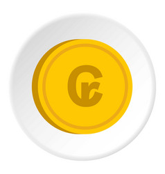 Gold coin with cruzeiro sign icon circle vector