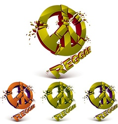 Green and orange 3d peace signs collection created vector